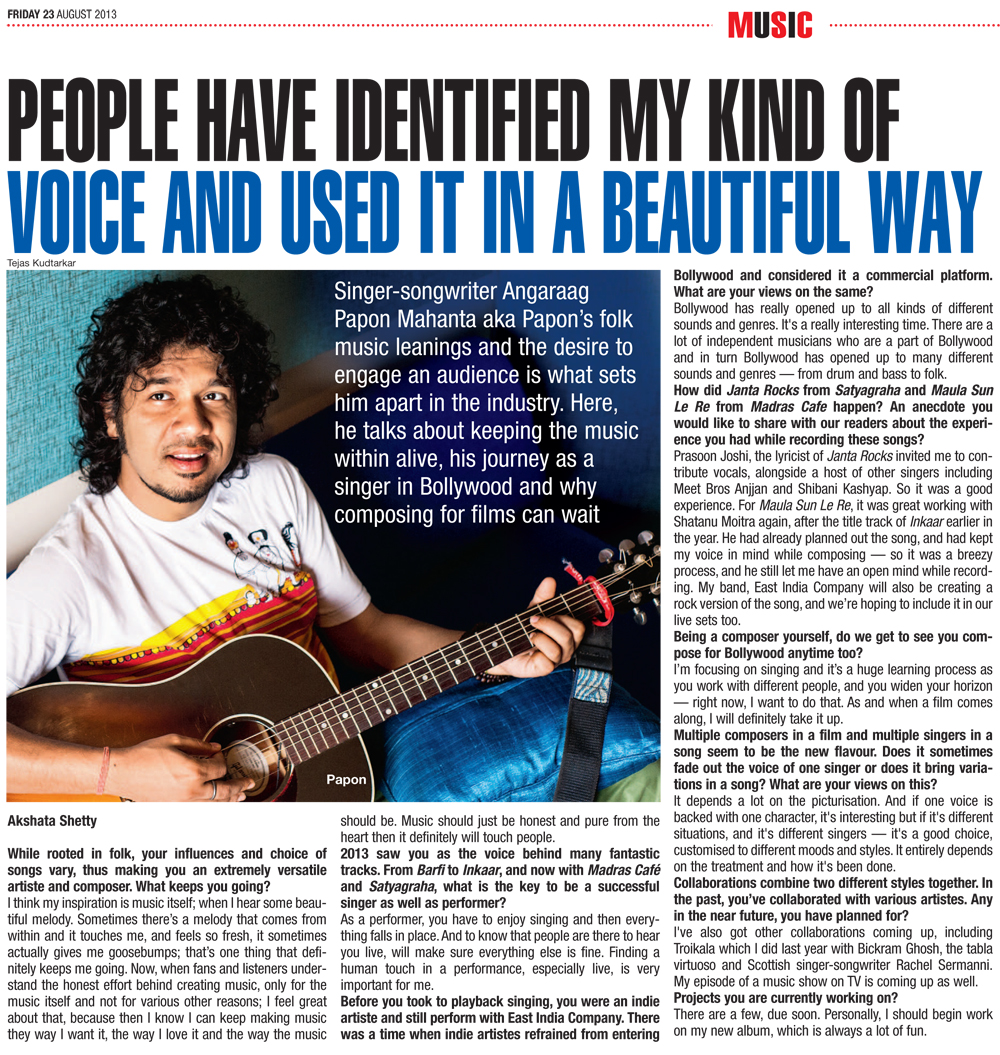 Papon - Profile - Bombay Times, Mumbai - 23rd August 2013