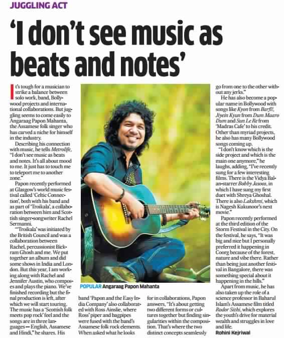 Papon - Deccan Herald, Bangalore - 10th February 2014